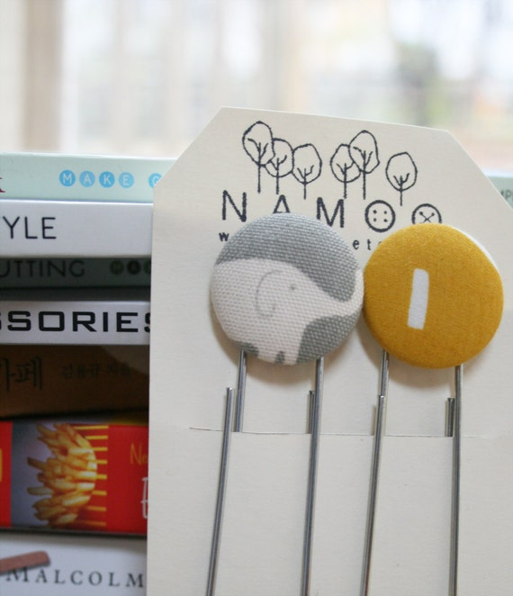 Bookmarks set with fabric covered button - elephant