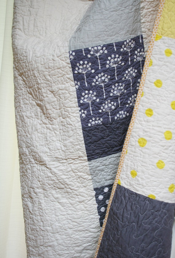 Large lap quilt or twin bed cover- grey and yellow with elephants, dots and stripes