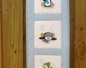 Quilted Wall Hanging - 'Penguins on Ice' - by QuiltingDiva