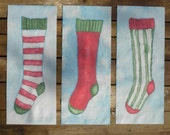 Christmas Stocking Quilt Blocks Hand Painted on Cotton - by paintedquilts