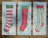 Christmas Stocking Quilt Blocks Hand Painted on Cotton - by paintedquilts - QuiltsyTeam