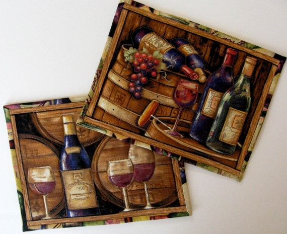 Quilted Wine Mug Rug Table Mats Set Of 2 By Sallymanke