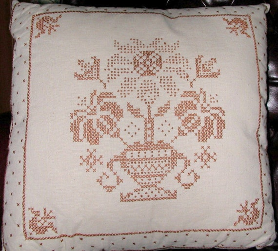 CANDLEWICK PILLOW - Brown on Natural Color Muslin - by TessieTextile