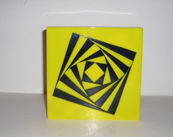 Geometric object, sculpture from color Plexiglas