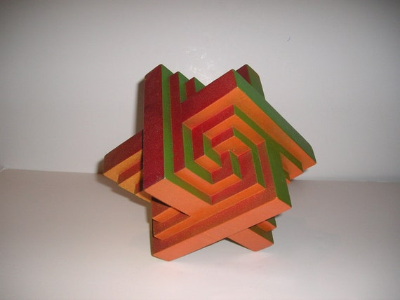 Nucleus, geometric, contemporary wooden, abstract sculpture