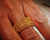 Small Gold Glass Beaded Memory Wire Ring