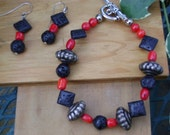 Sultry Lava Rock Bracelet and Earring Set