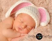 Crochet Bunny Ear Beanie Hat, great photo prop boy or girl