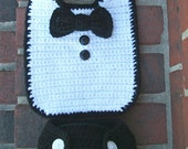 Crochet Tuxedo Bid and Diaper Cover for Boy in Black and White Photo Prop Comes with Buttons