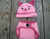 Piglet Inspired Photo Prop Diaper and Hat Set Size 0-3 Months Great Baby Shower Gift