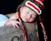 Crochet Sock Monkey Earflap Hat Brown Red Cream  Photo Prop For Girl, Boy and adults