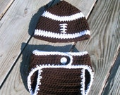 Crochet Football Hat Beanie and Diaper Cover Brown and White Boy or Girl Photo Prop Sizes Newborn-24 months