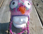 Crochet Owl Earflap Hat with braids  Hot PInk Light Pink Purple with Braids Sizes Newborn to Adult Photo Prop Girl
