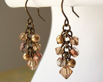 Bronze Copper and Topaz Swarovski Crystal Cluster Earrings
