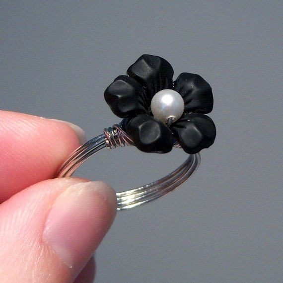 Black Lucite Flower Wire-Wrapped Ring with Pearl Center - Custom Colors and Sizing