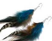 Long Feather Earrings Blue & Brown Bohemian Feather Earrings OOAK Feather Earrings