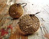 paisley lace bronze earrings . hand crafted bronze with natural brass ear wires