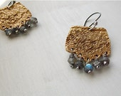 Luzerne's Lace bronze earrings . labradorite gemstones . vintage lace pattern . sterling silver
