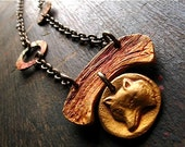 kitsune necklace - hand crafted bronze, natural brass chain- woodland wolf or fox