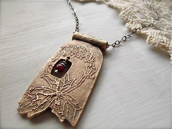 Reserved - bleeding heart necklace : botanical spring flower nature . handcrafted bronze, sterling silver, natural ruby gemstone