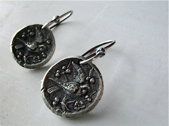 fleeting sparrows silver earrings : botanical nature jewelry . handcrafted silver .
