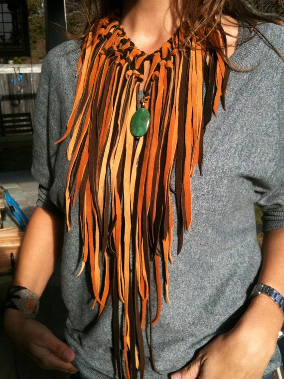 October Sale 10 Percent Off-The Leather Fringe Necklace