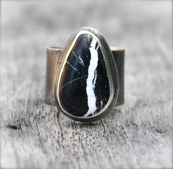 White Sands Buffalo Turquoise Silver Ring