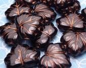 Stormy Black Glass Leaf Beads 10x13mm - 6pc