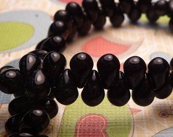 SALE - Baby Jet Black Glass Teardrops Beads 6x4mm - 20pc