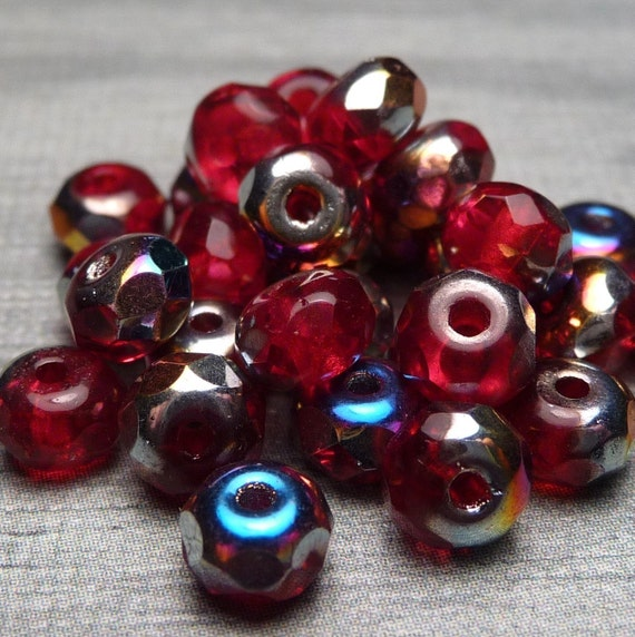 Red AB Faceted Glass Donut Bead 10pc SALE