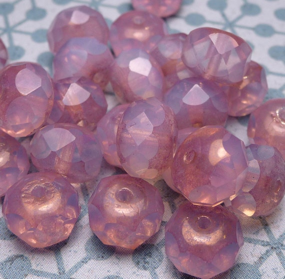 Cherry Blossom - Faceted Glass Beads