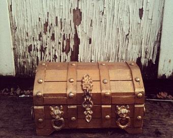 Vintage Tooled Gold 'Beowulf' Jewelry/ Keepsake Box