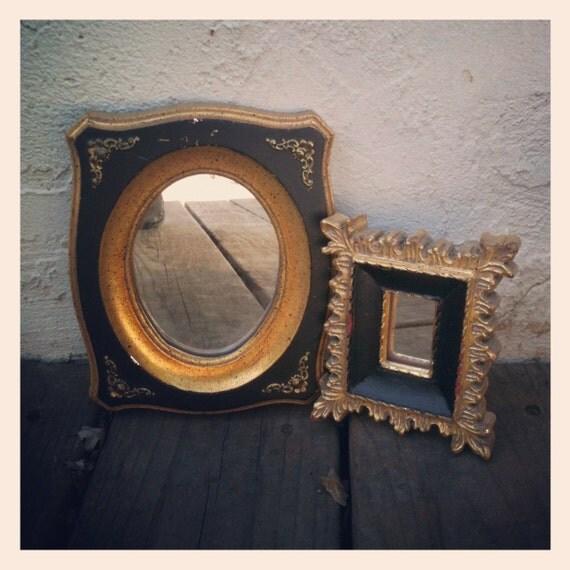 Pair of Vintage 1950s Miniature Black & Gold Ornate Mirrors from E.A. Riba Brooklyn, NY