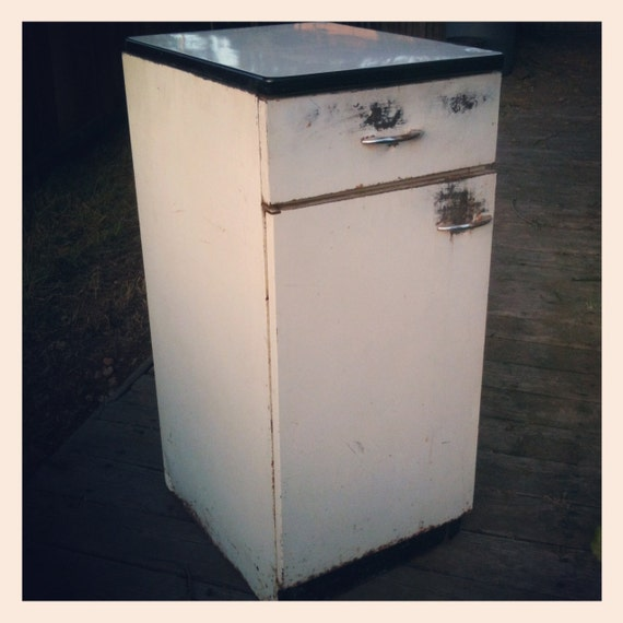 Items Similar To Vintage 1940s Enamel Kitchen Cabinet Stand Alone Pantry In White And Black On Etsy