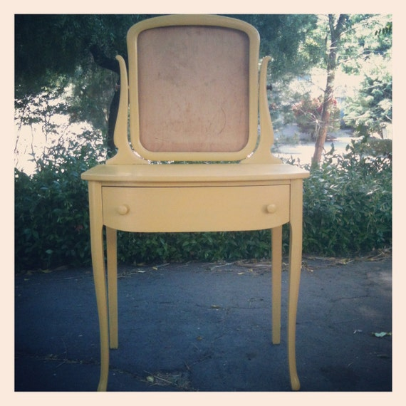 Vintage 1940s Canary Vanity Single Drawer Table & Mirror Console by Sligh Furniture Co