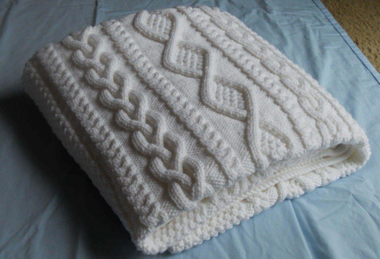 Hand Knitting Blankets : White hand knit blanket