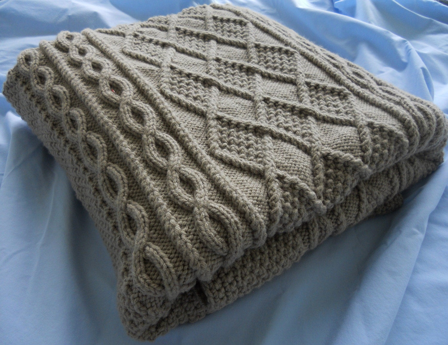 Knitting Chunky Blanket : Chunky hand knit blanket taupe