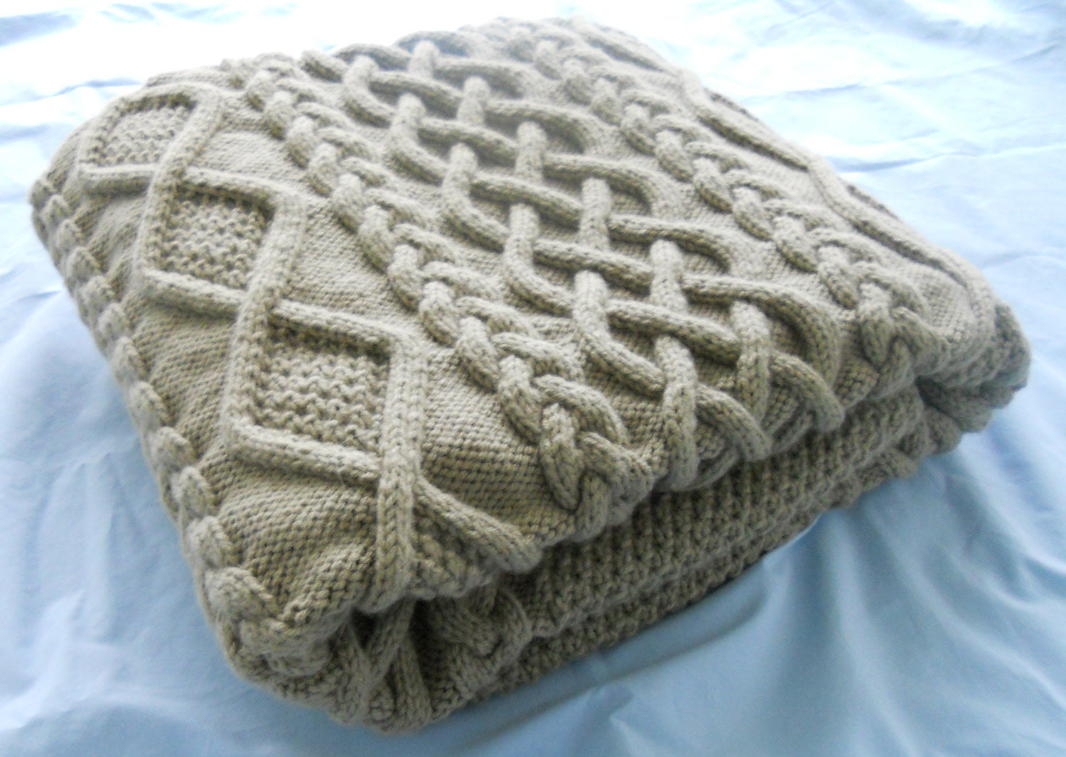 Hand Knitting Blankets : Taupe hand knit blanket
