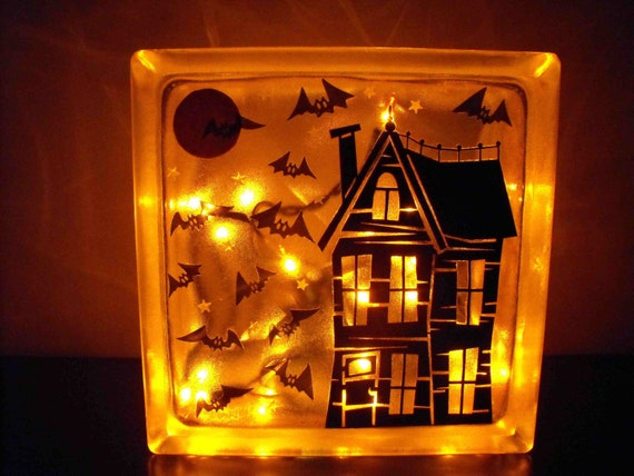 Spooky Haunted House Halloween Lighted Glass Block