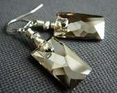 Rectangular Crystal Earrings, Wire Wrapped Swarovski Pendular and Sterling Silver.  Glimpse.