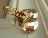 Sale Gold Crystal Earrings, Wire Wrapped Swarovski Golden Shadow Flat Briolette Crystals Gold Bridesmaid.  Desert in Gold.