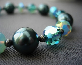 Teal Blue Swarovski Crystal Bracelet, Teal Pearls and Oxidized Sterling Silver.  Patina.
