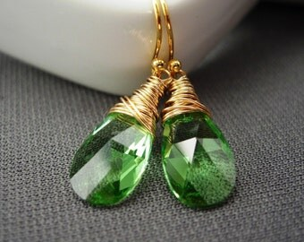 Lime Green and Gold Earrings, Wire Wrapped Swarovski Peridot Green Crystals. Lime.