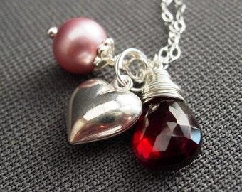 Valentine's Necklace, Garnet, Swarovski Pink Pearl, Sterling Silver Heart Charm.  Be Mine.