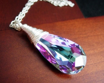 Light Vitrail Necklace, Wire Wrapped Purple Teal Sparkling Swarovski Crystal Sterling Silver Chain.  Infinite.
