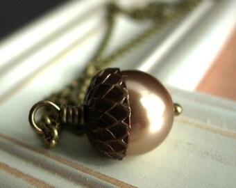 Acorn Necklace, Swarovski Pearl and Vintaj Antique Brass Top.  Acorn.