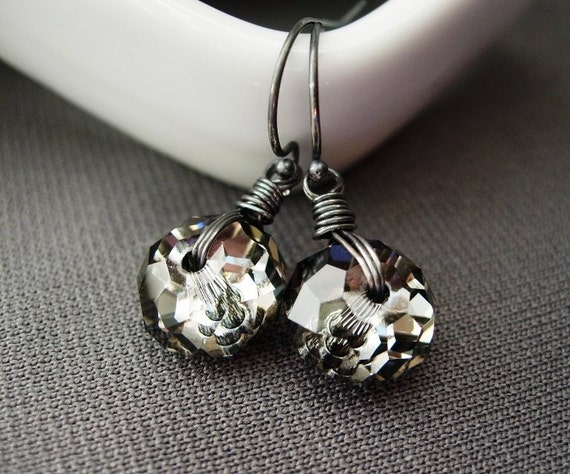 Gray Crystal Earrings,  Wire Wrapped Swarovski Crystal Silver Night Rondelles.  Industrial Night.