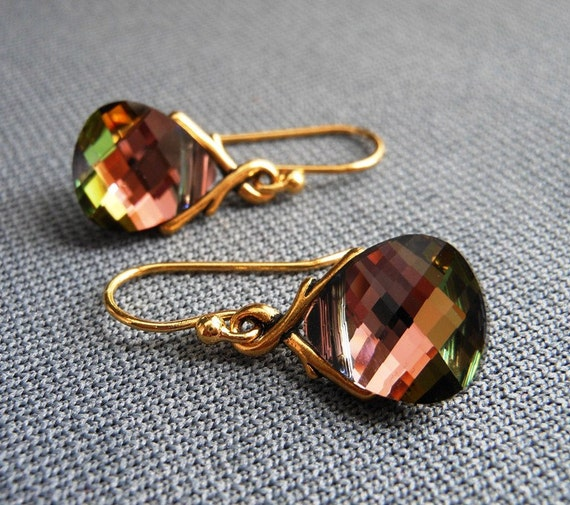 SALE Chocolate Brown Earrings, Tabac Swarovski Crystal Flat Briolettes on Gold Pewter Bails.  Cocoa Bean.
