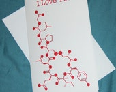 Oxytocin - I Love You - Chemistry Nerd Greeting Card - Red