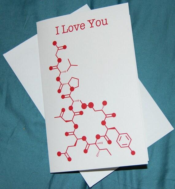 Oxytocin - I Love You - Chemistry Nerd Greeting Card - Red
